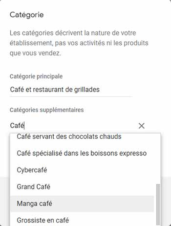 Google-business categorie restaurant